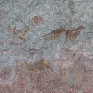 Ancient rock paintings, featuring numerous horned kudu antelope, in Matobo Hills National Park, Zimbabwe, a UNESCO World Heritage Site